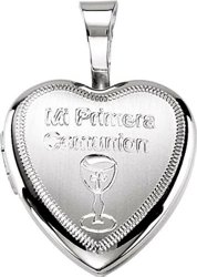 Sterling Silver Primera Communion Heart Locket