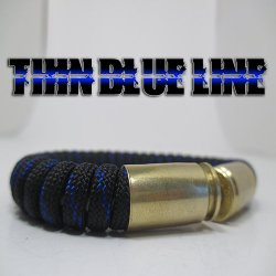 Thin Blue Line Paracord 40 Caliber Bullet Casing Bracelet