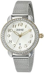 August Steiner Women's AS8192SSG  Round Silver  Dial with Sunburst Effect Three Hand Quartz Movement Bracelet Watch
