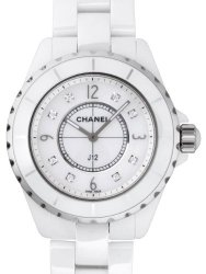 Chanel J12 Mother of Pearl Diamond Dial White Ceramic Unisex Watch H3214
