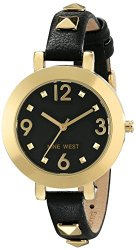Nine West Women's NW/1498BKBK Gold-Tone Pyramid Studded Black Strap Watch