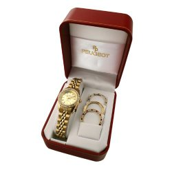 Peugeot Women's Crystal All Gold Metal Link Bracelet 4 Bezel Interchangeable Watch Gift Set 405G