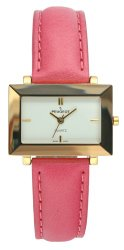Peugeot Women's PQ8323PK Gold-Tone Faceted Crystal Pink Leather Strap Watch