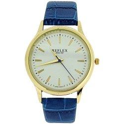 Reflex Ladies White Dial Blue PU Croc Effect Strap Fashion Watch REF0010