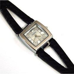 Reflex Silver Sunray Dial Black Split Strap Ladies Fashion Watch 1014054L