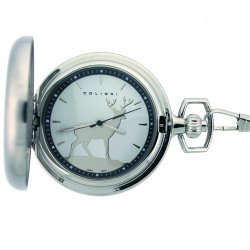 Colibri Silverton Deer Hunters Pocket Watch with Chain PWS098910J