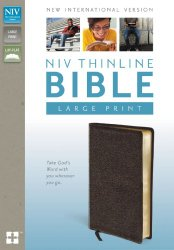 NIV, Thinline Bible, Large Print, Bonded Leather, Brown, Lay Flat