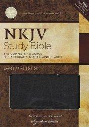 NKJV, Study Bible, Large Print, Bonded Leather, Black: Large Print Edition