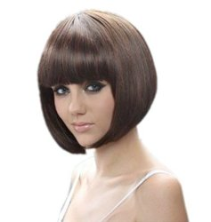 RoyalStyle® 8″ 30cm Short Hair Wig Natural As Real Hair Cosplay Wigs Neat Bangs Bob Wigs(Brown)