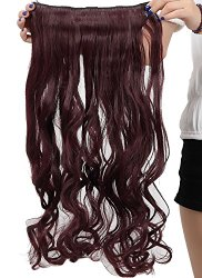 S-noilite 24 Inches Curly 3/4 Full Head Clip in Synthetic Hair Extensions One Piece 140g(110#-Wine Red)