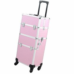 14x9x29″ 2In1 Pink 4 Wheel Rolling Aluminum Makeup Artist Lockable Cosmetic Train Case by AW