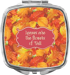 Fall Leaves Compact Makeup Mirror