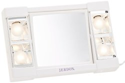 Jerdon J1010 6-Inch Portable Lighted Mirror with 3x Magnification, White Finish