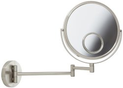 Jerdon JP7510N 8-Inch Wall Mount Makeup Mirror with 10x and 15x Magnification, Nickel Finish