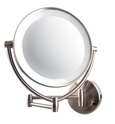 Ovente MLW45BR LED-Lighted Wall Mount Vanity Mirror, Brushed, 4 Pound
