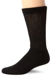 Dr. Scholl's Men's 2 Pack Diabetes and Circulatory Non-Binding Crew Socks, Black, 7-12
