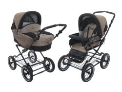 Roan Rocco Classic Pram Stroller 2-in-1 with Bassinet and Seat Unit – Coffee