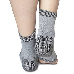 Ankle Sleeve in Bamboo Charcoal By Light Step. One Size Fits All Giving Light to Medium Ankle Support. Wear with or Without Socks to Warm the Joint. Perfect Yoga Socks!