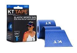 KT Tape Kinesiology Tape, Original Cotton Elastic Therapeutic Tape, 16-Feet, Uncut Roll, Blue