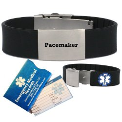 "Pre-engraved ""Pacemaker"" Medical Alert Identification Bracelet in Black Silicone. Choose from Diabetes, Coumadin, Blood Thinners, Seizures, Asthma, Pacemaker, Allergy and many more…"