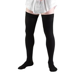 Truform 1945, Compression Socks, Thigh High, 20-30 mmHg, Black, X-Large