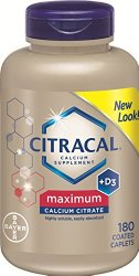Citracal Maximum Caplets with Vitamin D3, 180-Count Bottle