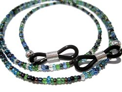 Peacock Eyeglass Holder with Black Grips – Seed Bead Holder for Glasses