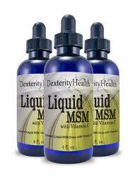 Premium Liquid MSM Drops with Vitamin C, 4 Ounce Bottle, 3-Pack