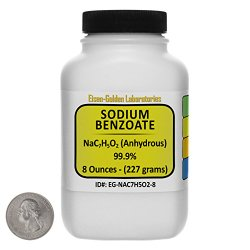 Sodium Benzoate [NaC7H5O2] 99.9% USP Grade Powder 8 Oz in a Space-Saver Bottle USA