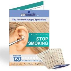 Stop Smoking Ear Seed Kit- 120 Ear Seeds, Stainless Steel Tweezer by EarSeeds.com