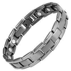 Willis Judd Mens Gunmetal Titanium Magnetic Bracelet In Black Velvet Gift Pouch + Free Link Removal Tool