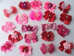 30 Valentine's Day Dog Hair Bows Collection -Hot Pink/Pink/Red with center decorated with flower