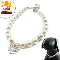 Alfie Couture Designer Pet Jewelry – Pinky Crystal Heart Pearl Necklace – Size: L (12″- 14″) for Dogs and Cats