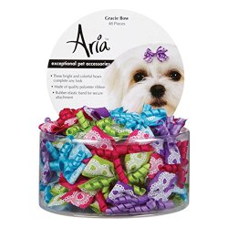 Aria Polyester Gracie Dog Bows Canister, 1-3/4-Inch, 48-Pack