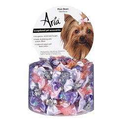 Aria Satin Acetate Pixie Dog Bows Canister, 1-3/4-Inch, 100-Pack