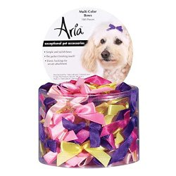 Aria Satin Acetate Ribbon Multicolor Dog Bows Canister, 3/8-Inch, 100-Pack