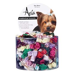 Aria Satin Ribbon Tiny Dog Bows Canister with Rosettes, 100-Pack,