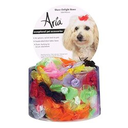 Aria Sheer Delight Dog Bows Canister, 100-Pack