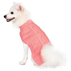 Blueberry Pet 10-Inch Back Length the Classy Cable Knit Rosy Pink Dog Sweater Clothes Sweatshirt for Dogs