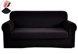 Chunyi 2-Piece Jacquard Polyester Spandex Sofa Slipcover (Sofa, Black)