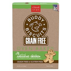 Cloud Star Grain Free Oven Baked Buddy Biscuits Dog Treats, Rotisserie Chicken, 14-Ounce