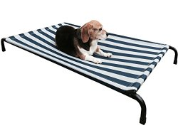 Dogbed4less Premium Heavy Duty Metal Elevated Pet Bed with Textilene Fabric for Medium to Extra Large Dog 48″X30″X4.5″
