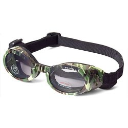 Doggles ILS Dog Goggle sunglasses in Green Camo / Smoke Lens Small