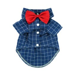 Fitwarm Gentle Formal Blue Dog Shirts for Pet Polo Clothes Apparel + Red Wedding Bow Tie, Large