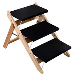 Giantex Folding Wooden Pet Ramp & Stairs Portable Dog Cat Animal Bed Steps Ladder