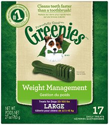 GREENIES Weight Management Dental Chews Large Dog Treats – Treat TUB-PAK Package 27 oz. 17 Count