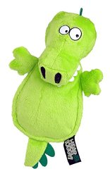 Hear Doggy Chew Guard Flats Toy, Gator, Green, Ultrasonic Silent Squeaker Dog Toy