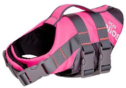 Helios Splash-Explore Outer Performance 3M Reflective and Adjustable Buoyant Dog Harness and Life Jacket, Pink, LG