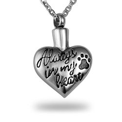 "HooAMI Cremation Jewelry ""Always in my heart"" Paw Heart Pet Memorial Urn Necklace Ashes Keepsake Pendant"