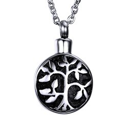 """HooAMI Cremation Jewelry """"Tree of Life"""" Christian Eternity Keepsake Memorial Urn Necklace Ashes Pendant"""